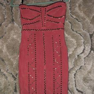 Brand New Bodycon Bebe Dress Pink/Gold